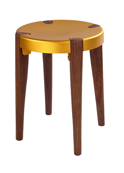 Otto Low Gold Walnut stool - EOQ