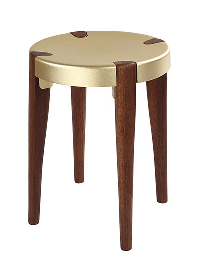 Otto Low Pale Gold Walnut stool - EOQ